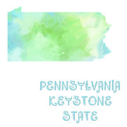 Pennsylvania Mixed Media - Pennsylvania - Keystone State - Map - State Phrase - Geology by Andee Photography