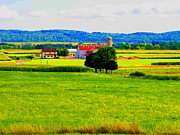 Amish Farms Posters - Pennsylvania Landscape Poster by Annie Zeno