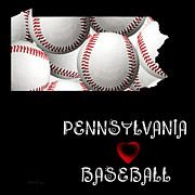 Abstract Map Posters - Pennsylvania Loves Baseball Poster by Andee Photography