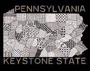 Pennsylvania Drawings Posters - Pennsylvania Map Black Poster by Rebecca Jayne