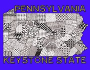 Pennsylvania Drawings Posters - Pennsylvania Map Blue Poster by Rebecca Jayne