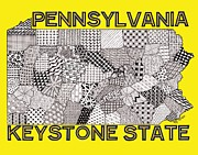 Pennsylvania Drawings Posters - Pennsylvania Map Gold Poster by Rebecca Jayne