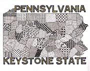 Pennsylvania Drawings Posters - Pennsylvania Map White Poster by Rebecca Jayne