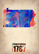 Map Art Mixed Media Prints - Pennsylvania Watercolor Map Print by Irina  March