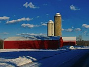Snowy Road Metal Prints - Pennsylvania Winter Red Barn  Metal Print by David Dehner