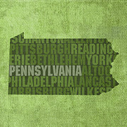 Pennsylvania Mixed Media Framed Prints - Pennsylvania Word Art State Map on Canvas Framed Print by Design Turnpike