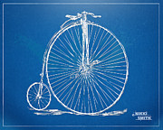 Open-wheel Posters - Penny-Farthing 1867 High Wheeler Bicycle Blueprint Poster by Nikki Marie Smith