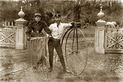 Penny Farthing Framed Prints - Penny-farthing high wheel at Hotel Del Monte circa 1890 Framed Print by California Views Mr Pat Hathaway Archives