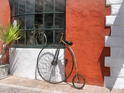 Penny Farthing Framed Prints - Penny-Farthing in Front of Bike Shop Framed Print by Susan Savad