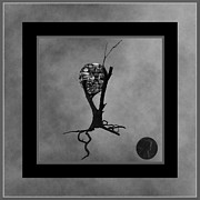 Tree Roots Digital Art Posters - Penny for your Thoughts BW Poster by Barbara St Jean