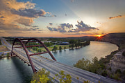 Pennybacker Bridge Posters - Pennybacker Bridge at Sunset Poster by Rob Greebon