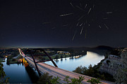 Pennybacker Bridge Posters - Pennybacker Bridge Austin Texas - Night of the Meteors Poster by Rob Greebon