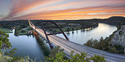 Pennybacker Bridge Posters - Pennybacker Bridge Panorama Austin Texas 3 Poster by Rob Greebon