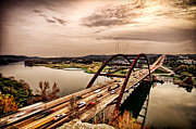 Pennybacker Bridge Posters - Pennybacker Bridge Sunset Poster by John Maffei