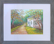 Landmarks Pastels Originals - Pennyfield Lockhouse on the C and O Canal in Maryland by Nancy Heindl