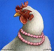 Hen Paintings - Pennys pink pearls... by Will Bullas