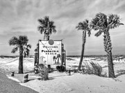Beach Sign Framed Prints - Pensacola Beach Black and White Framed Print by JC Findley