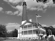 Black And White Photography Pastels Acrylic Prints - Pensacola lighthouse Acrylic Print by Patrick Davis