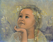 White Painting Metal Prints - Pensive - Angel 22 Metal Print by Dorina  Costras