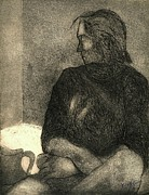 Original Etching Drawings Prints - Pensive Print by Kendall Kessler