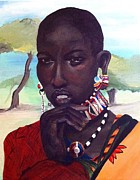 Maasai Painting Originals - Pensive Moment by Adrienne Miller
