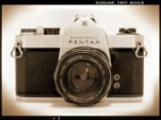 Silver Digital Art Prints - Pentax Spotmatic IIa Camera Print by Mike McGlothlen