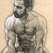Male Nude Drawings - Penumbra 3 by Chris  Lopez