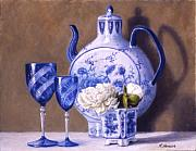 Blue And White Porcelain Prints - Peonies And China Blue Print by Rick Hansen