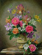 Colorful Blooms Posters - Peonies and irises in a ceramic vase Poster by Albert Williams