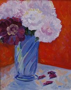 Barbara Benedict Jones Posters - Peonies in a Blue Vase Poster by Barbara Benedict Jones