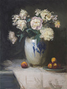 Still-life With Peaches Prints - Peonies Print by Walter Mosley