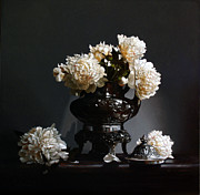 Still Life Paintings - Peonies With Silver Coffee Pot by Larry Preston