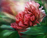 Carol Cavalaris Art - Peony - 50 Shades Of Red by Carol Cavalaris