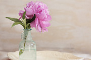 Glass Bottle Prints - Peony and Blue Bottle Print by Rich Franco