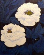 Anke Wheeler Paintings - Peony Blossoms by Anke Wheeler