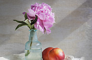 Glass Bottle Framed Prints - Peony Blue Bottle and Nectarine Framed Print by Rich Franco