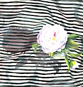 Stripes Mixed Media - Peony n Stripes by Sayyidah Seema Zaidee