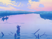 Graphic Originals - people Canoeing Camp river sunset landscape 80s 1980s pop art nouveau retro stylized painting print by Walt Curlee