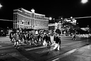 Crosswalk Posters - People Crossing Las Vegas Boulevard Outside The Bellagio At Night Nevada Usa Poster by Joe Fox