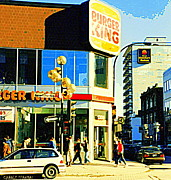 Montreal Restaurants Paintings - People Enjoy Beautiful Downtown Sainte Catherine Burger King Peel Scene By Hotel Comfort Suites by Carole Spandau