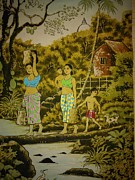 Nature Scene Tapestries - Textiles - People in jungle with stupa by Sri Lankan artist