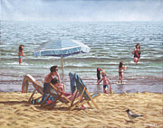 Sunbathing Paintings - People On Bournemouth Beach Parasol by Martin Davey