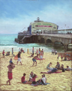 Sunbathing Paintings - people on Bournemouth beach Pier theatre by Martin Davey