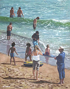Sunbathing Paintings - people on Bournemouth beach pulling dingys by Martin Davey