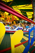 Primary Colors Prints - People on Kennywood Amusement Park Ride Print by Amy Cicconi