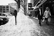 Footpaths Art - people walking along clear sidewalks in downtown city street Saskatoon Saskatchewan Canada by Joe Fox