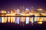 Reflecting Water Posters - Peoria Illinois at Night Downtown Skyline Poster by Paul Velgos