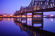 Peoria Posters - Peoria Illinois Bridge at Night - Murray Baker Bridge Poster by Paul Velgos
