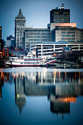 Businesses Posters - Peoria Illinois Cityscape and Riverboat Poster by Paul Velgos