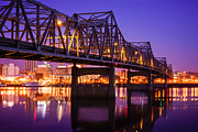 Reflecting Water Posters - Peoria Illinois Murray Baker Bridge at Night Poster by Paul Velgos